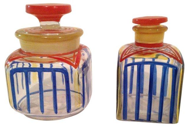 Glass Dressing Table Bottles, Pair