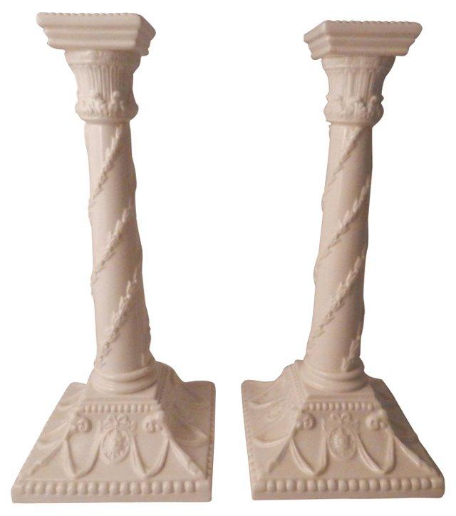 Worcester Creamware Candlesticks, Pair