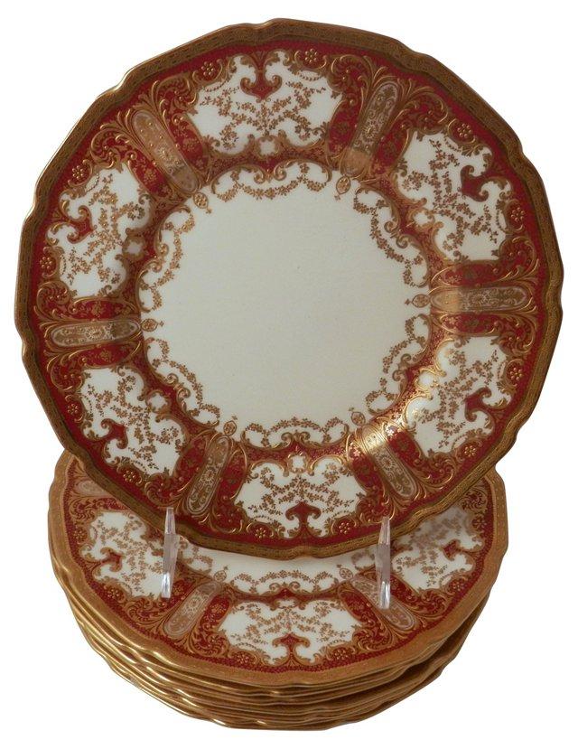 Tiffany Gilt Encrusted Plates, S/8