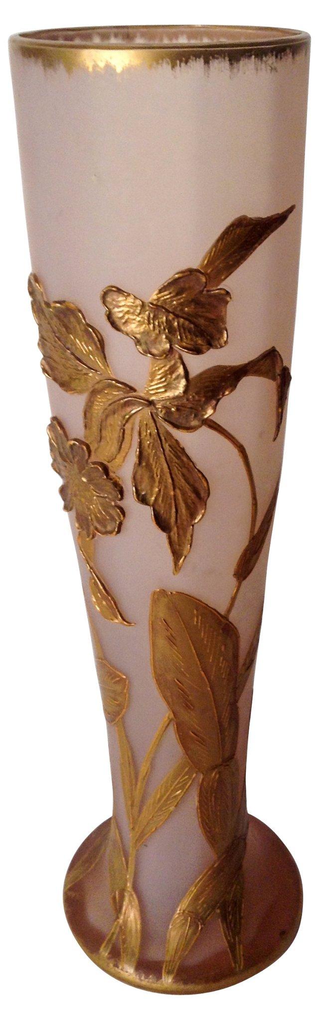 Pink & Gilt-Encrusted Art Nouveau Vase