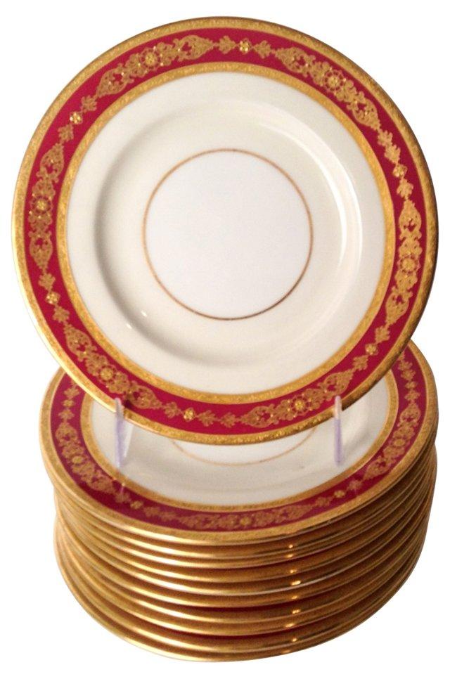 Tiffany Ruby & Gilt Bread Plates, S/12