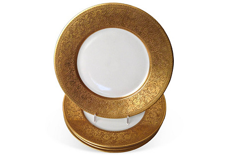 Gold-Encrusted Dinner Plates, S/4