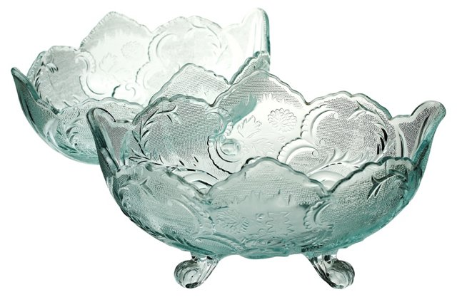 Ice Blue  Serving Bowls, Pair