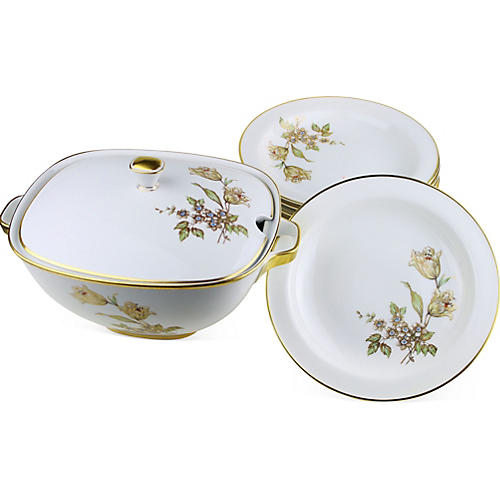 Gilded Tureen & Bowls, Svc. For 12