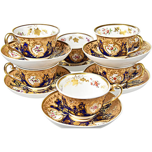 C.1820 English Cups & Saucers, S/6
