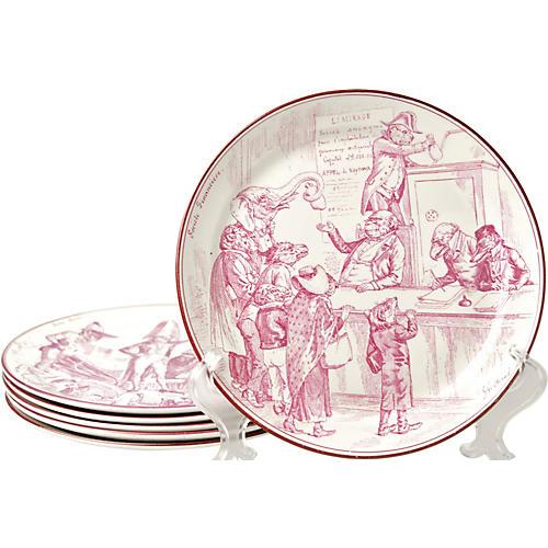 19th-C. Creil et Montereau Plates, S/6