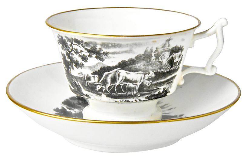 Antique Staffordshire Cup & Saucer