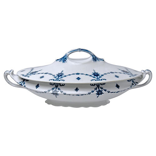 Flow Blue Covered Serving Bowl