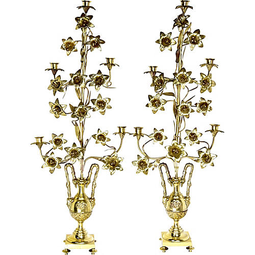 Tall Antique French Candelabra, Pair