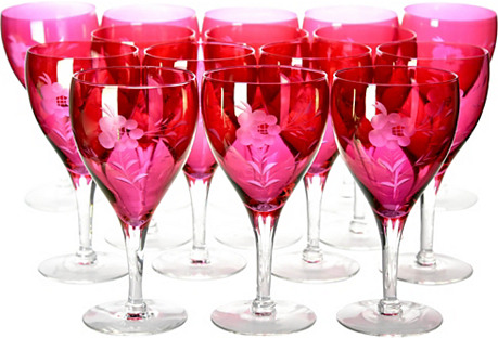 Engraved Ruby Wineglasses, S/15