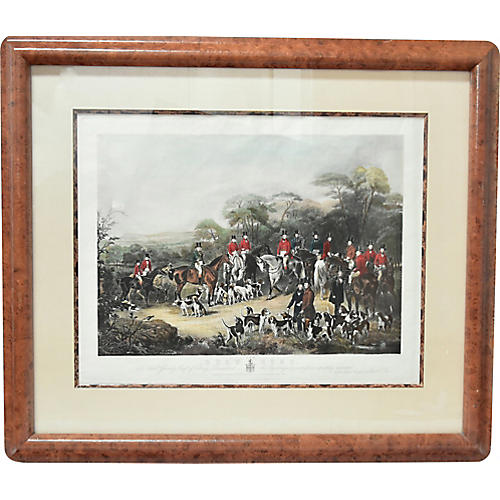 Large 19th-C. Hunt Scene Etching