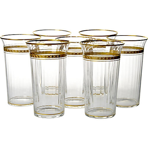 Antique Gilded Crystal Tumblers, S/7