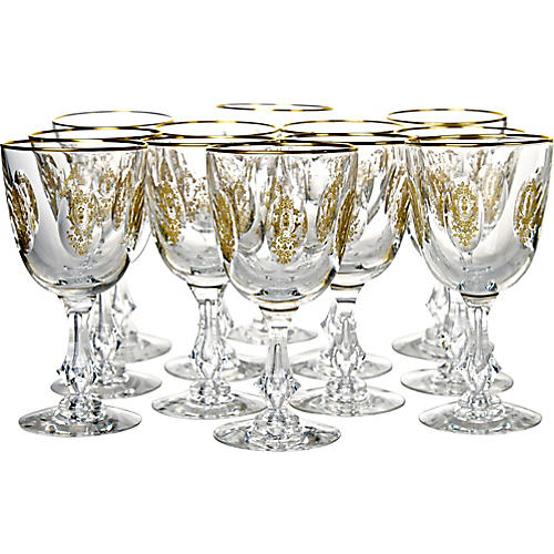 Gold-Encrusted Crystal Goblets, S/12
