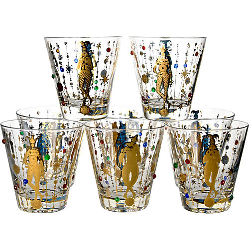 Jeweled Large Rocks Glasses, S/8