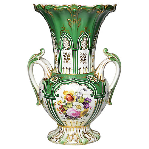 19th-C. English Painted Vase