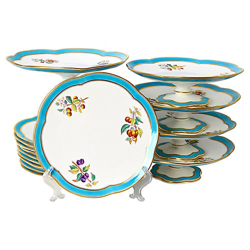 19th-C. Dessert Serving Set, 15 Pcs