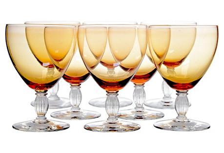 Amber Wineglasses, S/8