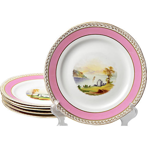 19th-C. Hand-Painted Plates, S/6