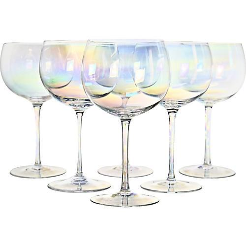 Iridescent Crystal Goblets, S/6