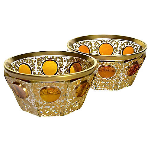 Carved Crystal Moser Bowls, Pair
