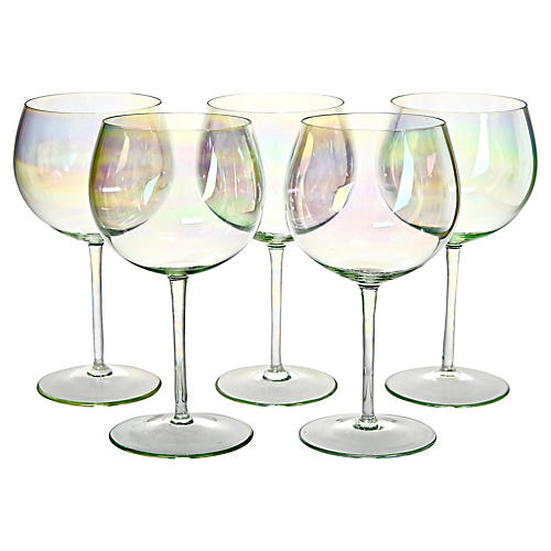 Green Luster Wineglasses, S/5