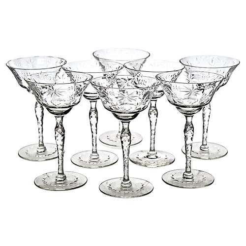 Engraved Cocktail Glasses, S/8