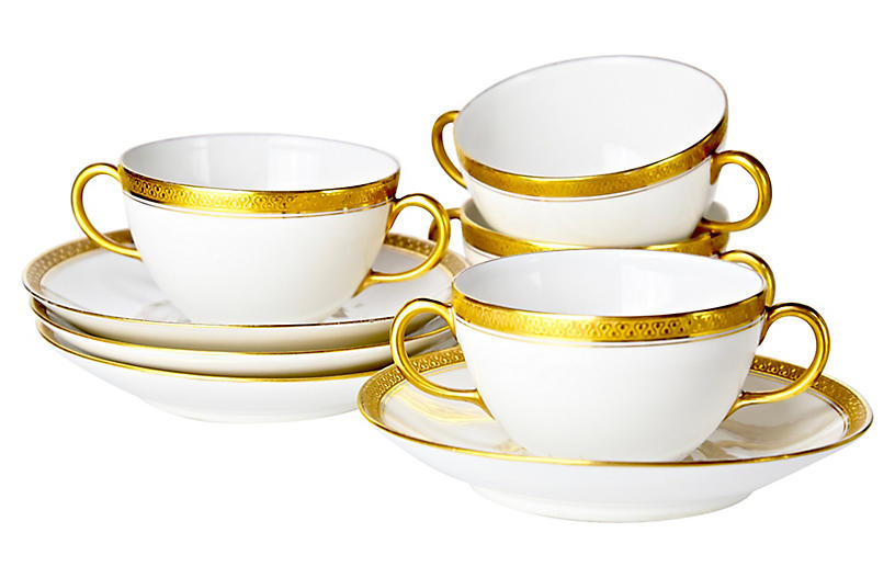 Gold Encrusted Cups & Saucers, 8 Pcs