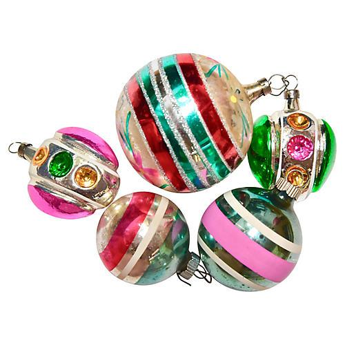 Assorted Retro Ornaments, S/5
