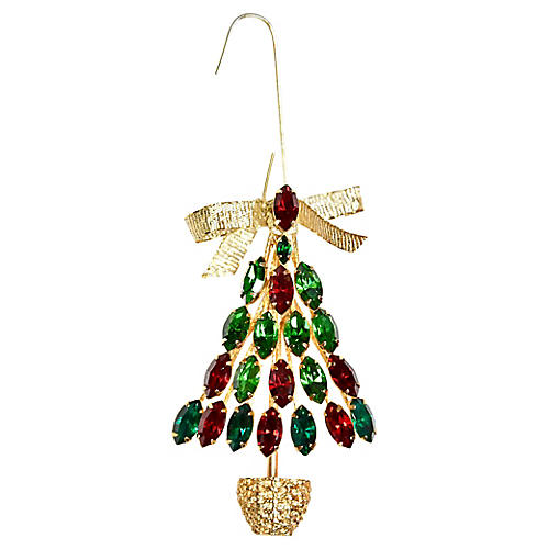 Rhinestone Tree Brooch Ornament