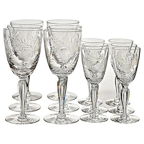 Engraved Crystal Goblets, S/12