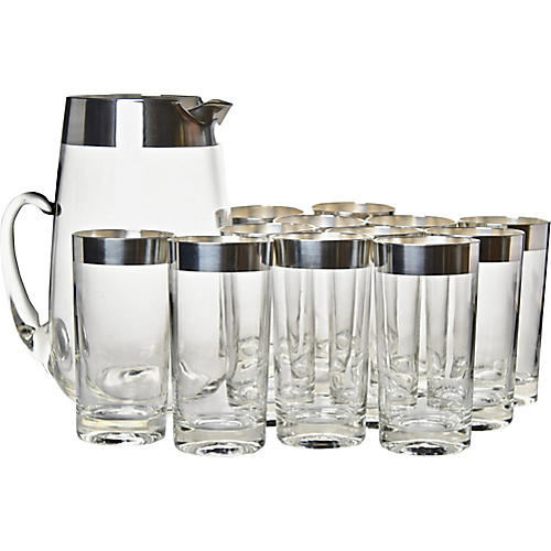 Sterling Overlay Drinks Set, 13 Pcs