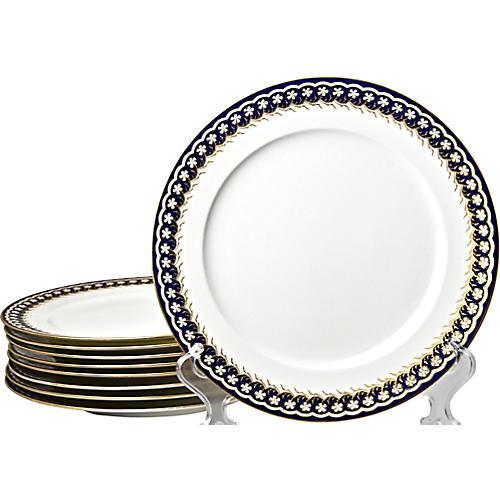 Antique Cauldon Dinner Plates, S/9