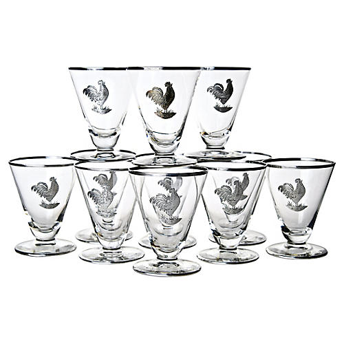 Sterling Overlay Rooster Glasses, S/11
