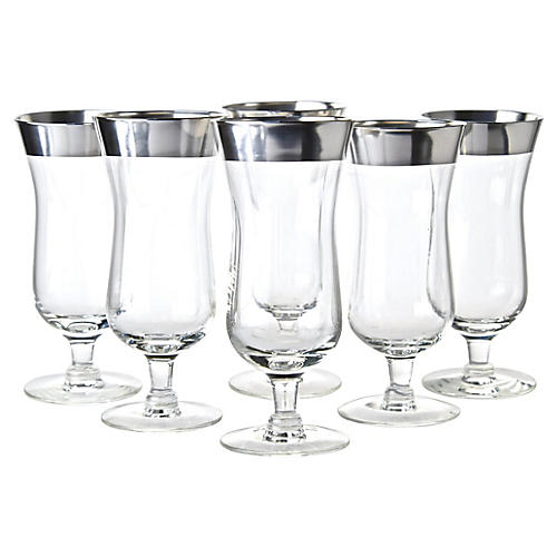 Sterling Overlay Cocktail Glasses, S/6