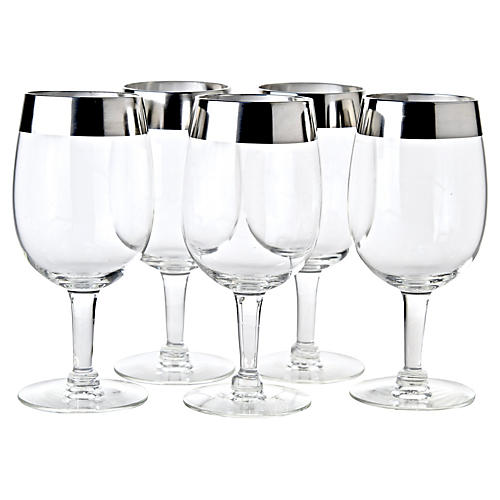Silver Overlay Wine Glasses, S/5