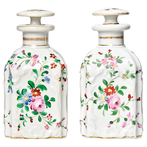 19th-C. Vanity Bottles, Pair