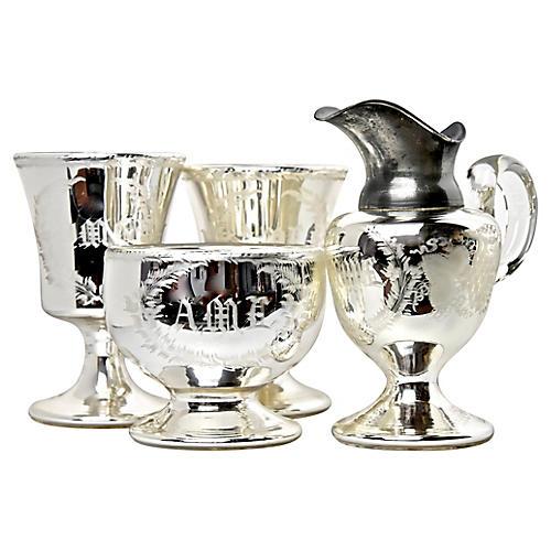 19th-C Mercury Glassware, S/4