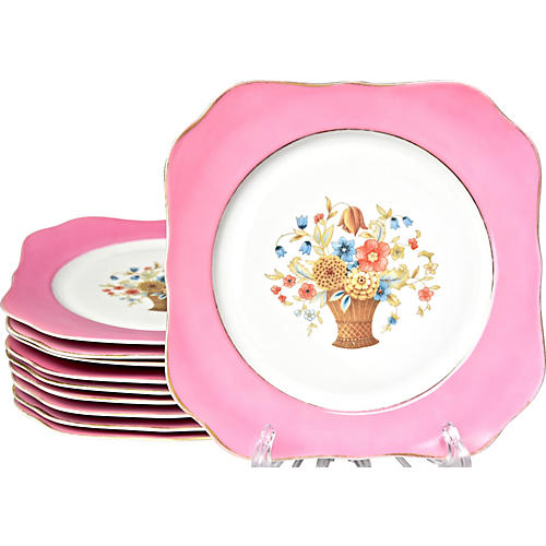 1930s Pink Square Plates, S/10