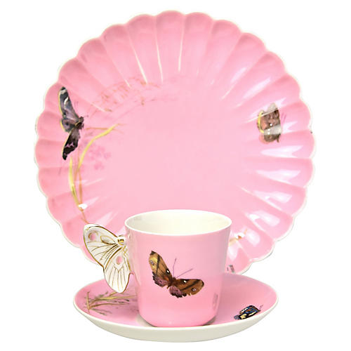 19th-C. Limoges Butterfly Trio