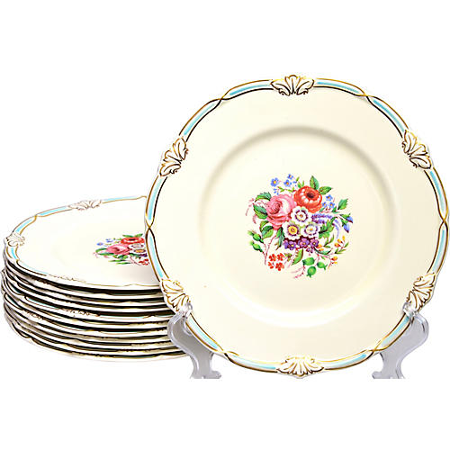 Creamware English Plates, S/12