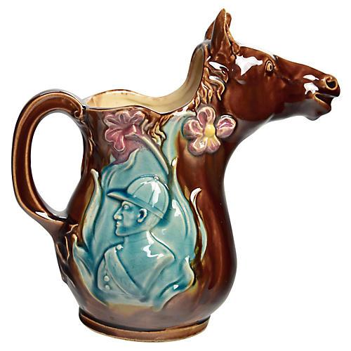 Horse & Jockey Majolica Jug