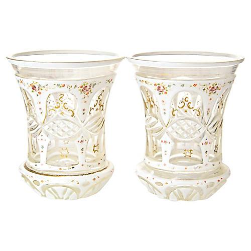 19th-C. Cut Glass Vases, Pair