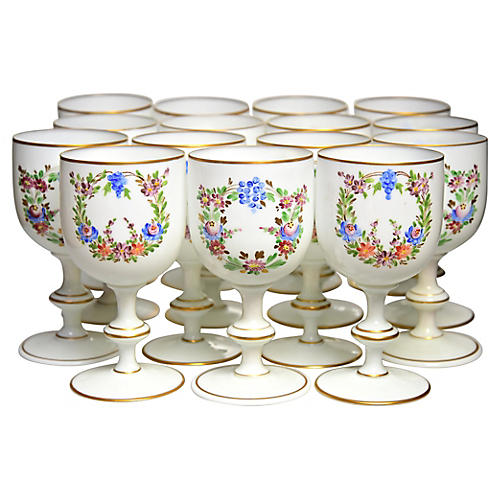 Enamelled French Glass Goblets, S/14