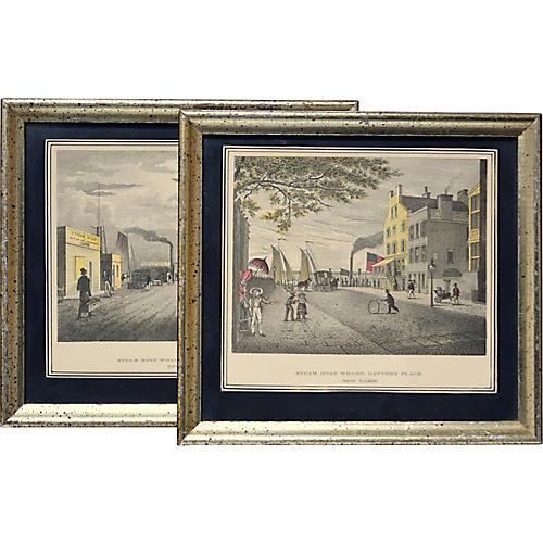 19th-C. New York Cityscape Prints, Pair
