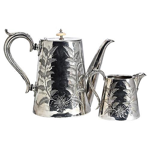 Antique Siverplate Coffee Pot & Creamer