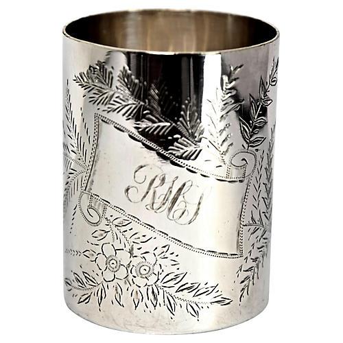 19th-C. Engraved Mug