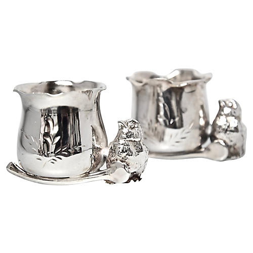 Antique Silverplate Egg Cups, Pair