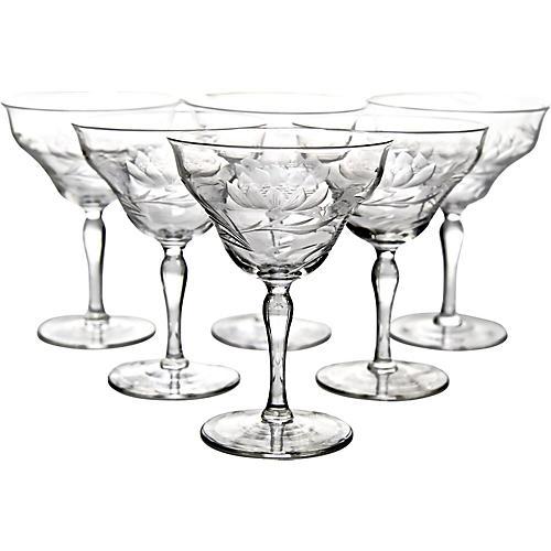 Art Nouveau Crystal Coupes, S/6