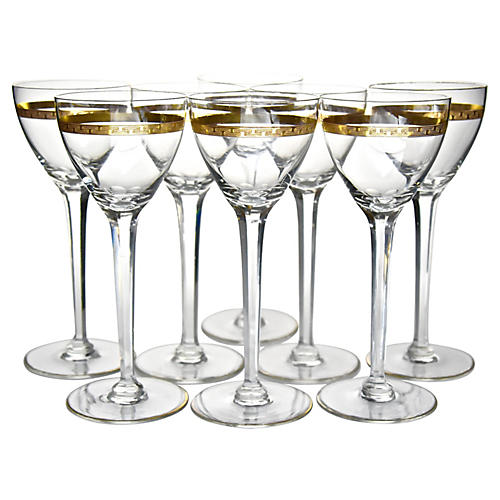 Gilded Tall Wine Glasses, S/8