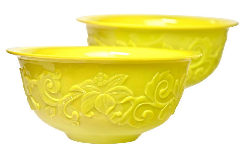 Large Peking Glass Bowls, Pair